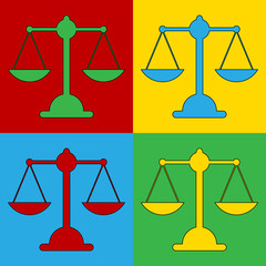 Pop art scale symbol icons.