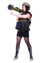 Woman in a military camouflage holding a grenade launcher