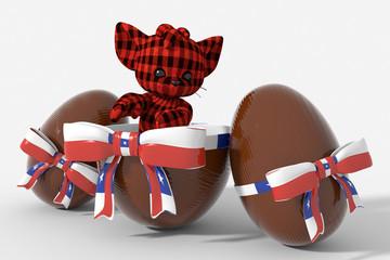 Uovo di Pasqua cioccolato con colori  Cile e peluche