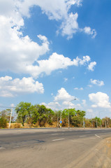The road with cloud and blue sky