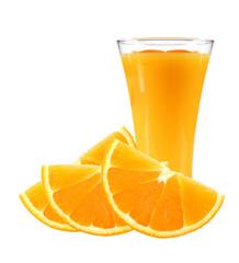 fresh orange slices and glass of juice isolated on white