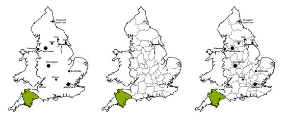 Devon located on map of England