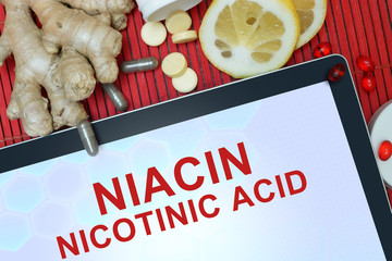 Tablet with words Nicotinic acid (niacin). Healthy eating.