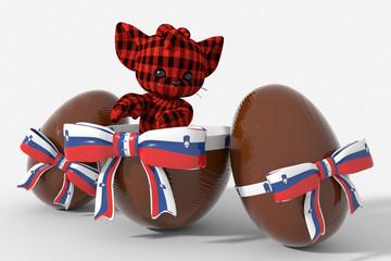 Uovo di Pasqua cioccolato con colori Slovenia e peluche