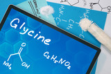 Tablet with the chemical formula of  Glycine.