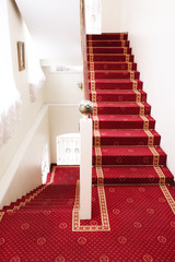 Stairs covered with red carpet  - hotel