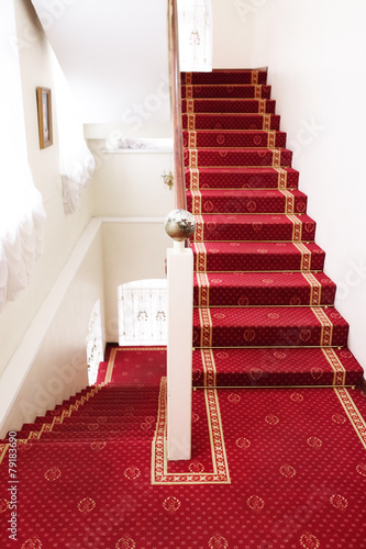 Stairs covered with red carpet  - hotel - 79183690