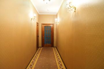 Hotel hall interior with carpet