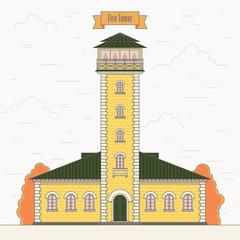 Orange fire tower in vector