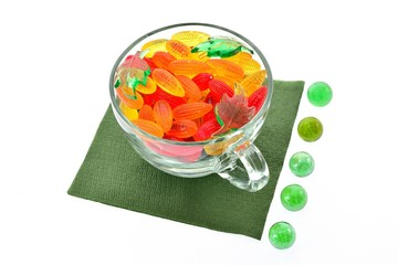 Transparent cup with marmalade