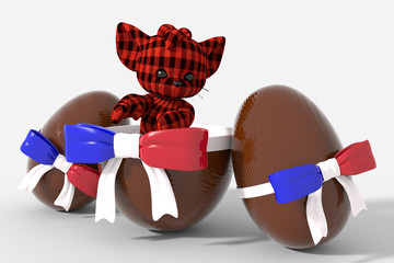 Uovo di Pasqua cioccolato con colori  Francia e peluche
