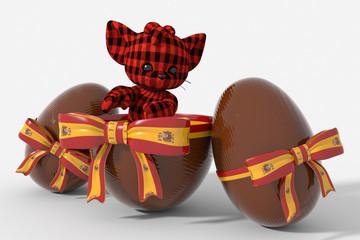Uovo di Pasqua cioccolato con colori Spagna e peluche