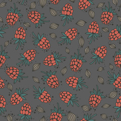 seamless pattern with raspberry seeds on dark gray background