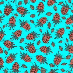 seamless pattern with raspberry seeds on blue background