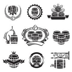 monochrome set of barrel icons