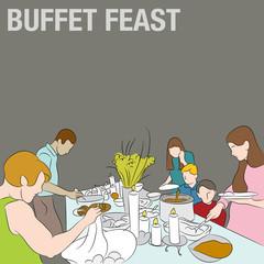 People in Buffet Line