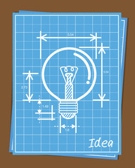 Blueprint of light bulb is white linear drawing