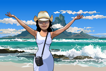 cartoon girl in a hat standing with arms raised on the beach