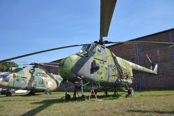 Old military airplane stands on an airport - Mil Mi-4 Hound