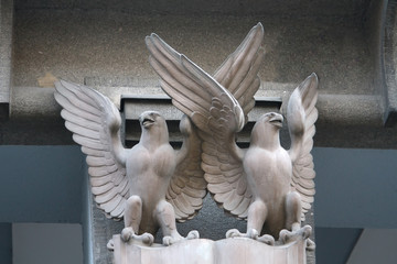 Two eagles on the walls decoration in the historic center of Pra