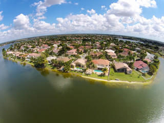 Watefront homes aerial view