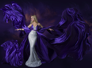 Woman Beauty Dress Flying Purple Silk Cloth, Creative Lady