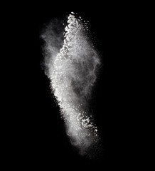 Freeze motion of white dust explosion isolated on black