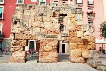 ruins of Roman walls in Tarragona, Spain