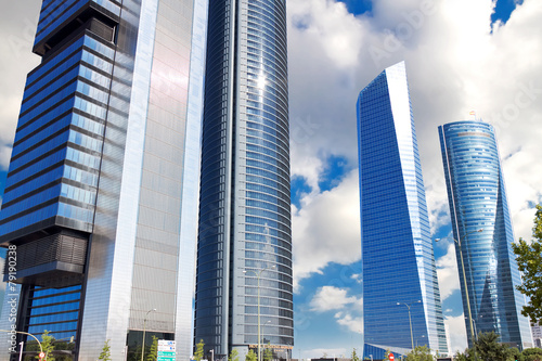 Fotobehang Madrid Skyscrapers Cuatro Torres Business Area in Madrid, Spain