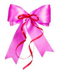 pink bow with red ribbon made from silk