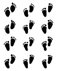 Prints of baby feet, vector illustration