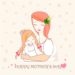 Mother hugging her child, mothers day greeting card illustration