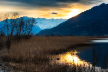 Sunset in a river in the mountains on the Prairie