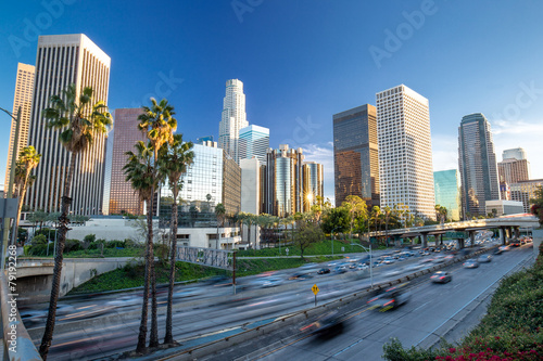 Fotobehang Los Angeles Los Angeles downtown buildings skyline highway traffic