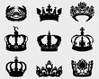 Big set of black silhouettes of different crowns, vector