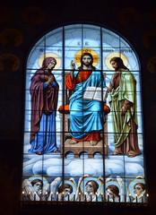 Stained-glass window of the Cathedral of the Sea Nikolsokgo