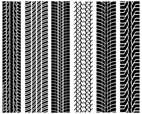 Black prints of tread of cars, vector illustration - 79192486