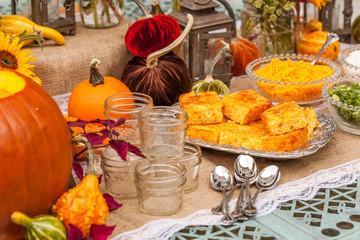 Fall Autumn Platter with Corn Bread Pumpkin Dishes