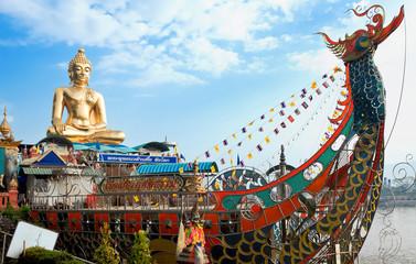Golden Buddha on Mekong river, Sop Ruak, Thailand