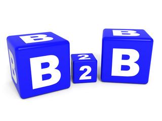 B2B cubes on white background. 3D illustration.