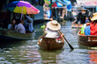 Leinwandbild Motiv saleswoman at Floating Market Damnoen Saduak, Thailand