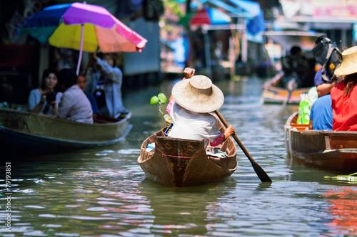 saleswoman at Floating Market Damnoen Saduak, Thailand - 79193851