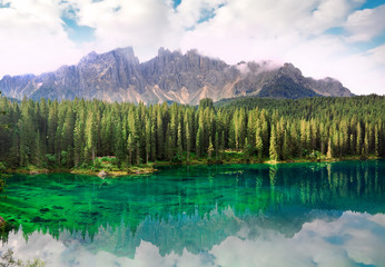 Lake Carezza, Dolomites Alps, province of Trentino-Alto Adiges,