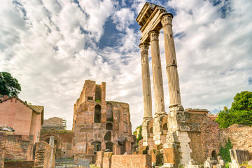 The ruins of the temple of Castor and Pollux in Rome