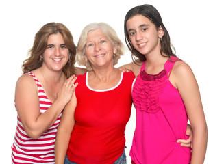Family of three generations of hispanic women
