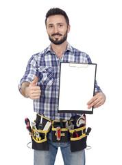 Confident handyman with clipboard