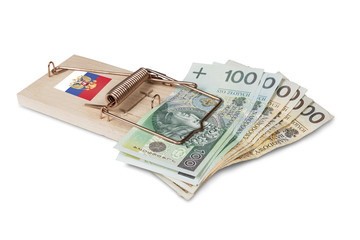 Russian mouse trap with Polish zloty bill isolated over white