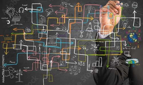 canvas print picture Businessman find a solution