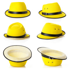 Set of  different views of  yellow hats