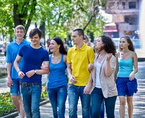 Group people in summer outdoor.